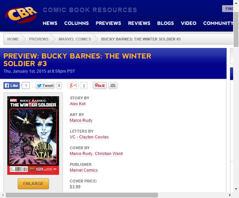 多くの思いがけない惑星!バッキー・バーンズ:ウィンター・ソルジャー #3のプレビュー画像が更新!