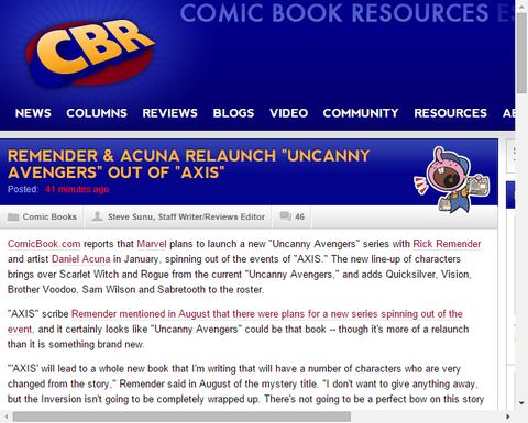 アンキャニー・アベンジャーズ #1のプレビューはこちら!