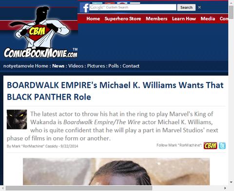ボードウォーク・エンパイアのマイケル・K・ウィリアムズはブラック・パンサーの役を望む!