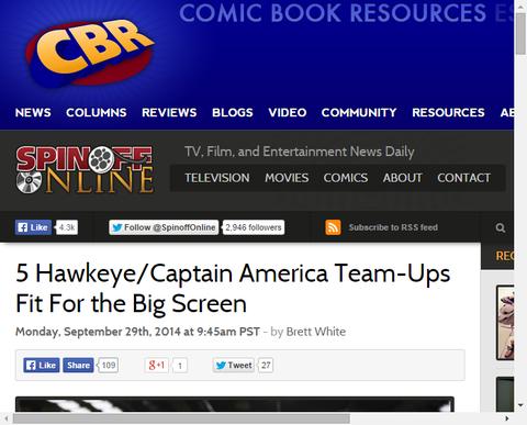 ビッグスクリーンに適合するホークアイとキャプテン・アメリカの5つのチームアップ!
