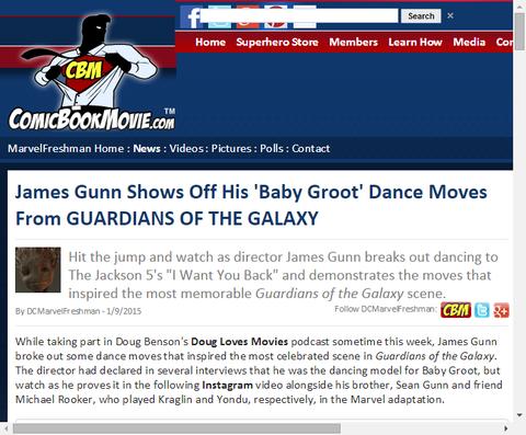 ジェームズ・ガンが映画「ガーディアンズ・オブ・ザ・ギャラクシー」のグルートダンスを披露!