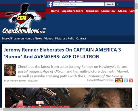 ジェレミー・レナーがキャップ3の「噂」とアベンジャーズ:エイジ・オブ・ウルトロンについて言及!