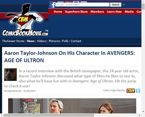 アーロン・テイラー=ジョンソンが「アベンジャーズ:エイジ・オブ・ウルトロン」での自身の役について話す!