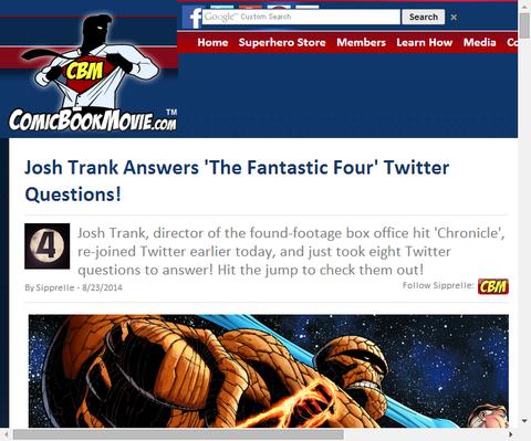 ジョシュ・トランクがツイッターでファンタスティック・フォーについての質問に答える!
