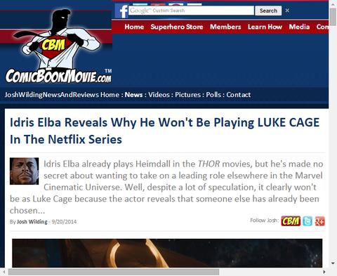 イドリス・エルバはなぜネットフリックスでルーク・ケイジを演じないか明らかにする!