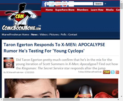 タロン・エジャートンが映画「X-MEN:アポカリプス」の若きサイクロプスの候補について言及する!