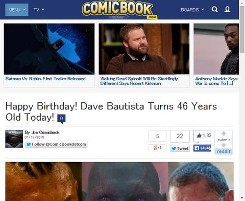 本日1月18日はデイブ・バウティスタの46歳の誕生日!