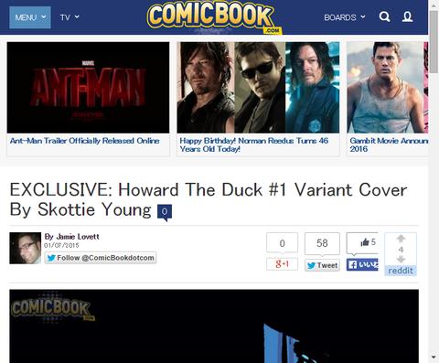 スコッティ・ヤングによる「ハワード・ザ・ダック #1」のヴァリアントカバー!
