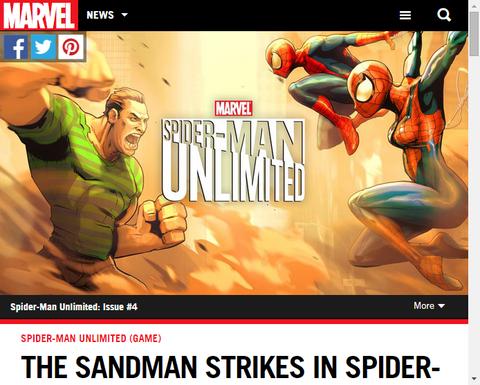 ゲーム「スパイダーマン・アンリミテッド」にサンドマン登場!トレイラー映像も!