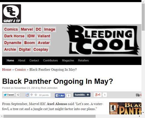 5月にブラック・パンサーのオンゴーイング・シリーズが開始か!?