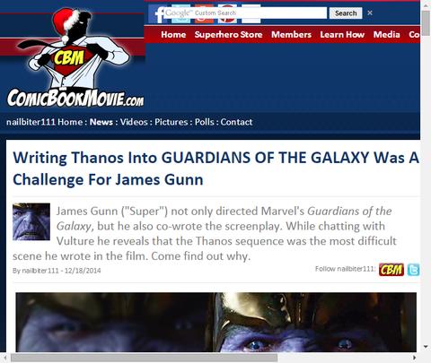 ジェームズ・ガンは映画「ガーディアンズ・オブ・ザ・ギャラクシー」でサノスを書き込むことは挑戦だったと話す!