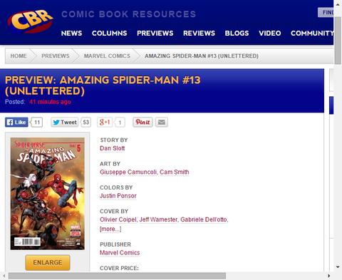 アメイジング・スパイダーマン #13のプレビュー画像が公開!