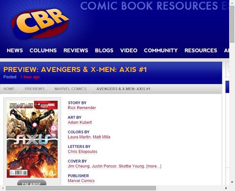 アベンジャーズ&X-MEN:アクシス #1のプレビュー画像が更新!