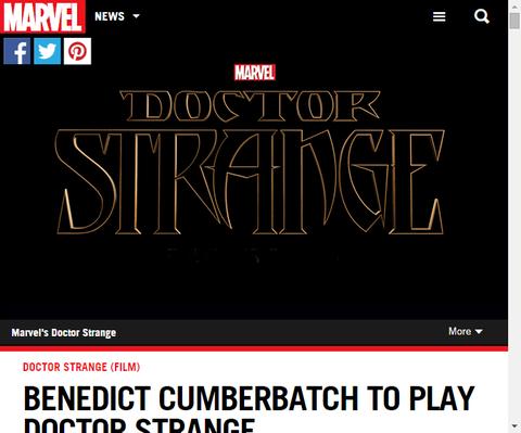 ついに公式アナウンス!ベネディクト・カンバーバッチがドクター・ストレンジを演じる!