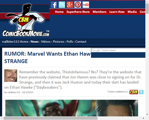 噂:マーベルはドクター・ストレンジのためにイーサン・ホークを求めている!?