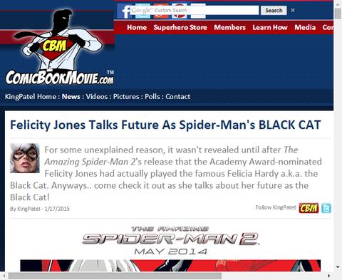 フェリシティ・ジョーンズがスパイダーマン映画でのブラックキャットを演じることについて話す!