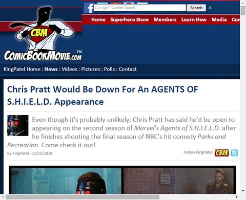 クリス・プラットがドラマ「エージェント・オブ・シールド」に出ることは可能だと話す!