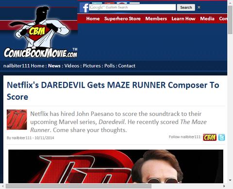 ネットフリックスのドラマ「デアデビル」は作曲家ジョン・パエサノを得る!