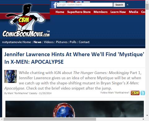 ジェニファー・ローレンスは映画「X-MEN:アポカリプス」で『ミスティーク』を見ることをほのめかす!