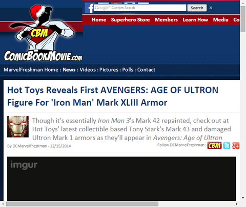 ホットトイズから映画「アベンジャーズ:エイジ・オブ・ウルトロン」に登場するアイアンマン マークXLIIIアーマーの画像を公開!