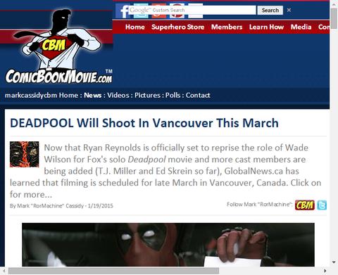 映画「デッドプール」はこの3月バンクーバーで撮影される!