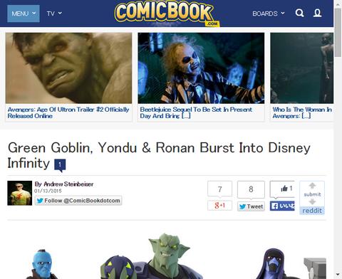 ゲーム「ディズニー・インフィニティ」にロナンとヨンドゥとグリーン・ゴブリンがやってくる!それぞれのキャラクターの映像も!