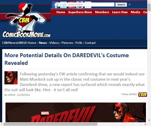 ドラマ「デアデビル」のコスチュームは赤と黒になる模様!