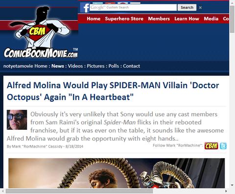 アルフレッド・モリーナがドクター・オクトパスを再び演じることに意欲的!!