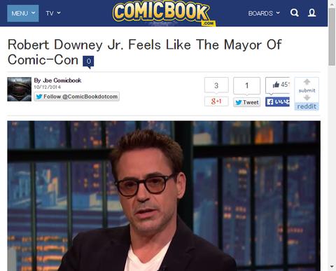 ロバート・ダウニー・Jr.が「私はコミコンの市長のように感じる」と話す!