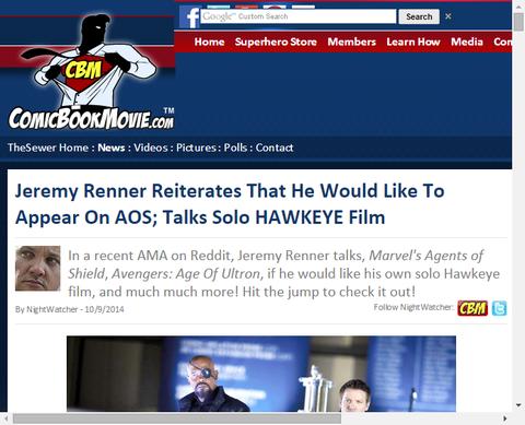 ジェレミー・レナーが「エージェント・オブ・シールド」に現れたいと思うことと、ホークアイのソロ映画についれ話す!