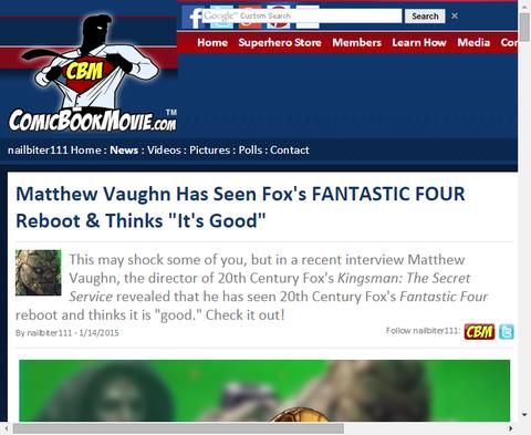 マシュー・ヴォーンはリブート版「ファンタスティック・フォー」を見て「それは良かった」と話す!