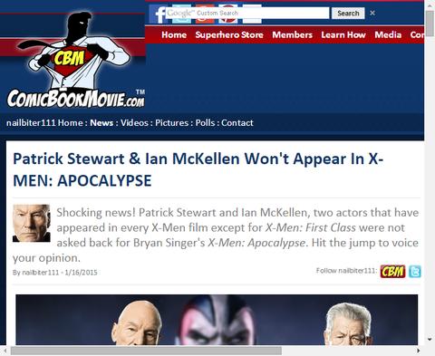 パトリック・スチュワートは映画「X-MEN:アポカリプス」でイアン・マッケランと共に出演しないこと明かす!