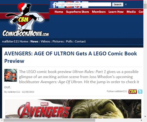 映画「アベンジャーズ:エイジ・オブ・ウルトロン」のレゴ版コミックのプレビュー画像が判明!