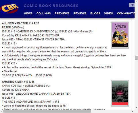 ついに最終巻!オールニュー・X-FACTOR #20のプレビュー!