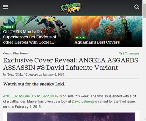 デイヴィッド・ラフェンテによるアンジェラ:アスガーズ・アサシン #3のヴァリアントカバーを公開!