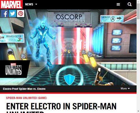 ゲーム「スパイダーマン:アンリミテッド」にエレクトロが登場!