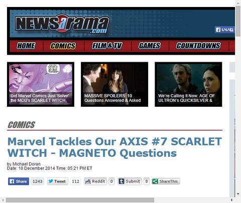 アベンジャーズ & X-MEN:アクシス #7についてトム・ブレヴォードのインタビュー!