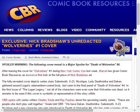 「ウルヴァリンズ #1」のニック・ブラッドショーのカバーで隠されていたものが判明!