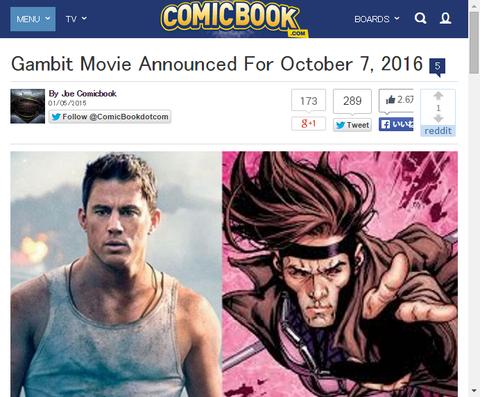 映画「ガンビット」が2016年10月7日公開と発表!チャニング・テイタムはガンビットを演じることを確かめる!