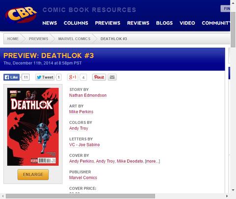アンドレアはアベンジャーズの援助を求める!デスロック #3のプレビュー画像が更新!