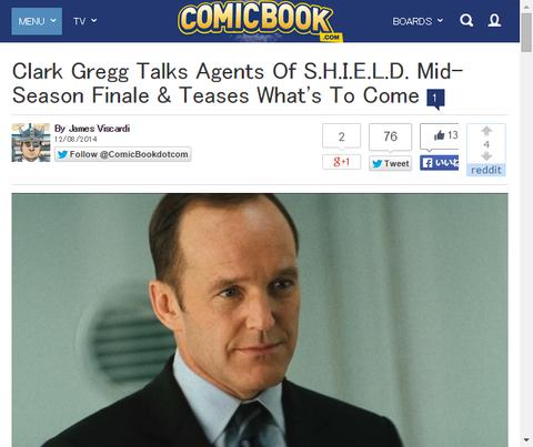クラーク・グレッグはドラマ「エージェント・オブ・シールド」シーズン2の前半のフィナーレに何が来るか話す!