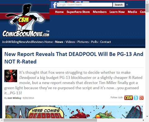 デッドプールの映画はPG-13でR指定でないことを明かす!