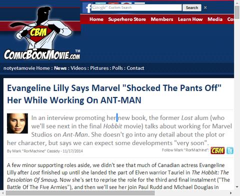 アントマンのエバンジェリン・リリーはマーベルによって「徹底的に衝撃を受けた」と話す!