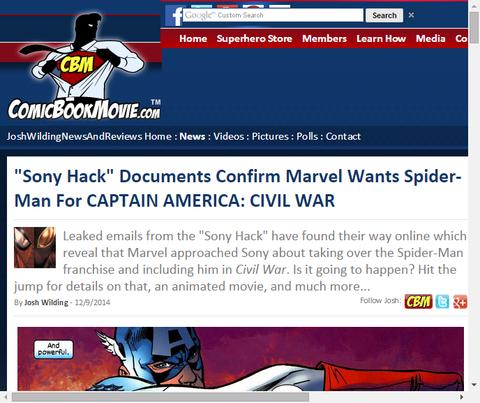 ソニーハックによってマーベルが「キャプテン・アメリカ:シビル・ウォー」で『スパイダーマン』が欲しいのを確かめられる!