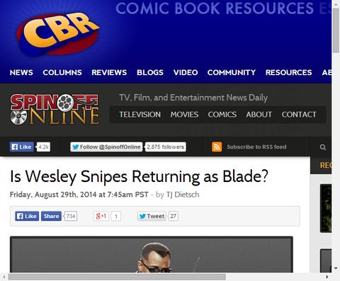 ウェズリー・スナイプスがブレイドに帰ってくる!?