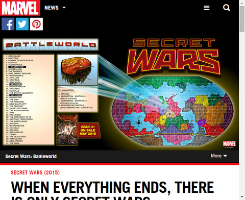 シークレット・ウォーズ:バトルワールドのマップが公開!