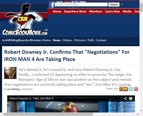 ロバート・ダウニー・Jr.はアイアンマン4の「交渉」が起こっていることを確認!