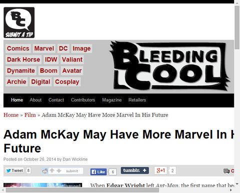 ライターのアダム・マッケイはより多くのマーベル映画を持つかもしれない!