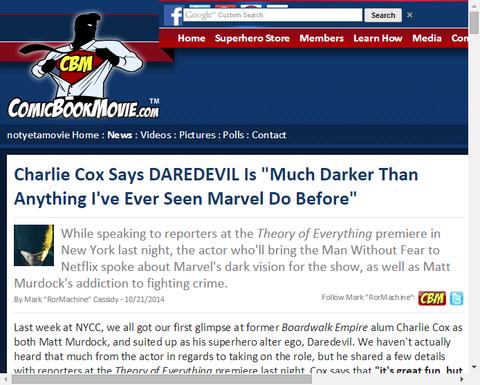 チャーリー・コックスはデアデビルが「私がこれまでにマーベルがするのを見た中で何よりも暗い」と言う!