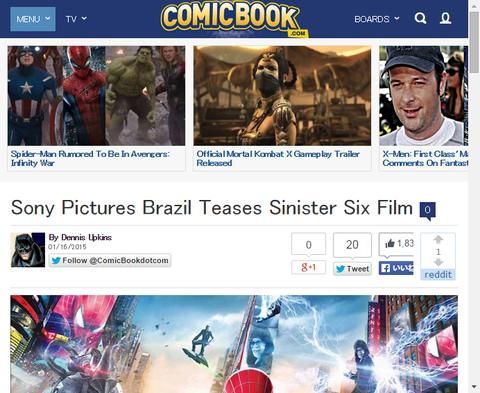 ソニー・ピクチャーズ・ブラジルが映画「シニスター・シックス」をにおわすティザー画像を公開!